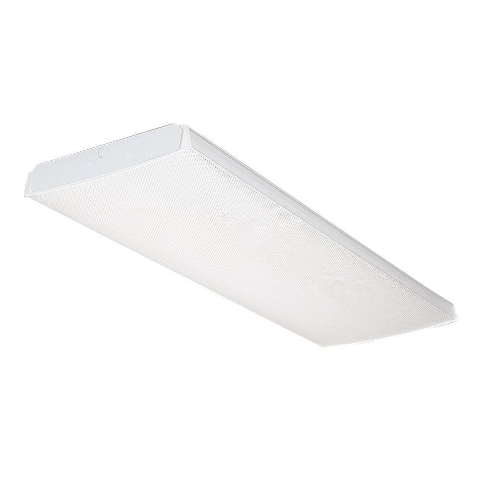 White lithonia lighting flushmount lights lighting the home multi volt 2 light white t8 fluorescent wrap ceiling flushmount aloadofball Images