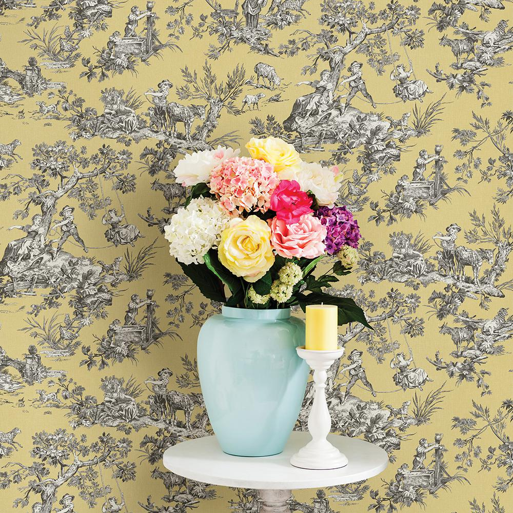 Chesapeake Whitney Yellow Toile Wallpaper Sample 3112 002778sam