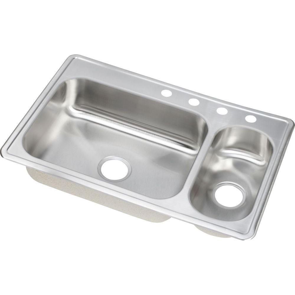 elkay dayton drop in stainless steel 33 in  4 hole double bowl kitchen elkay dayton drop in stainless steel 33 in  4 hole double bowl      rh   homedepot com