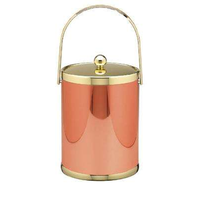 Mylar 5 Qt. Polished Copper and Brass Ice Bucket with Track Handle and Metal Lid