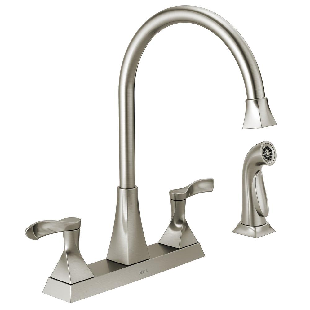 Delta Everly 2-Handle Standard Kitchen Faucet with Spray in ...