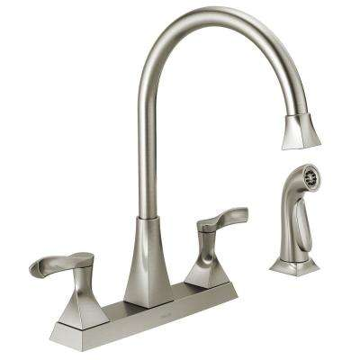 Everly 2 Handle Standard Kitchen Faucet With Spray In Stainless