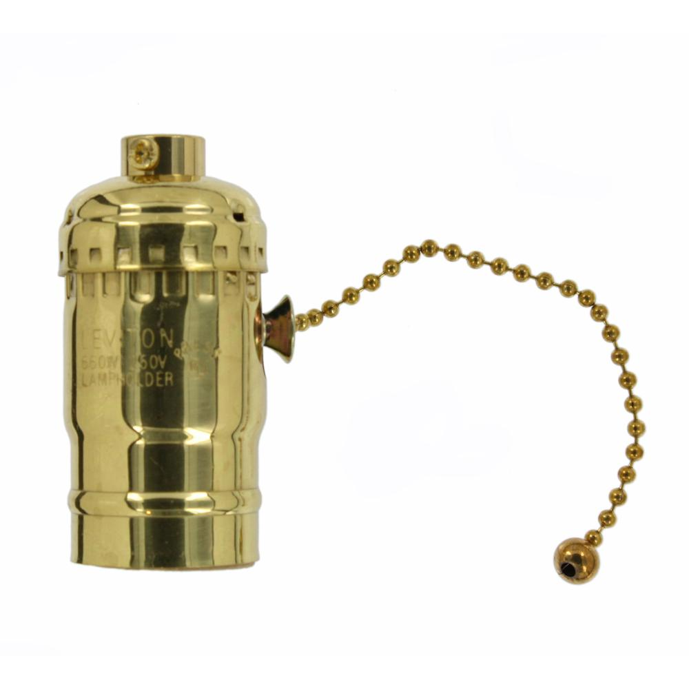 660W Medium Base Single Circuit Incandescent Lampholder with Pull Chain, Brass