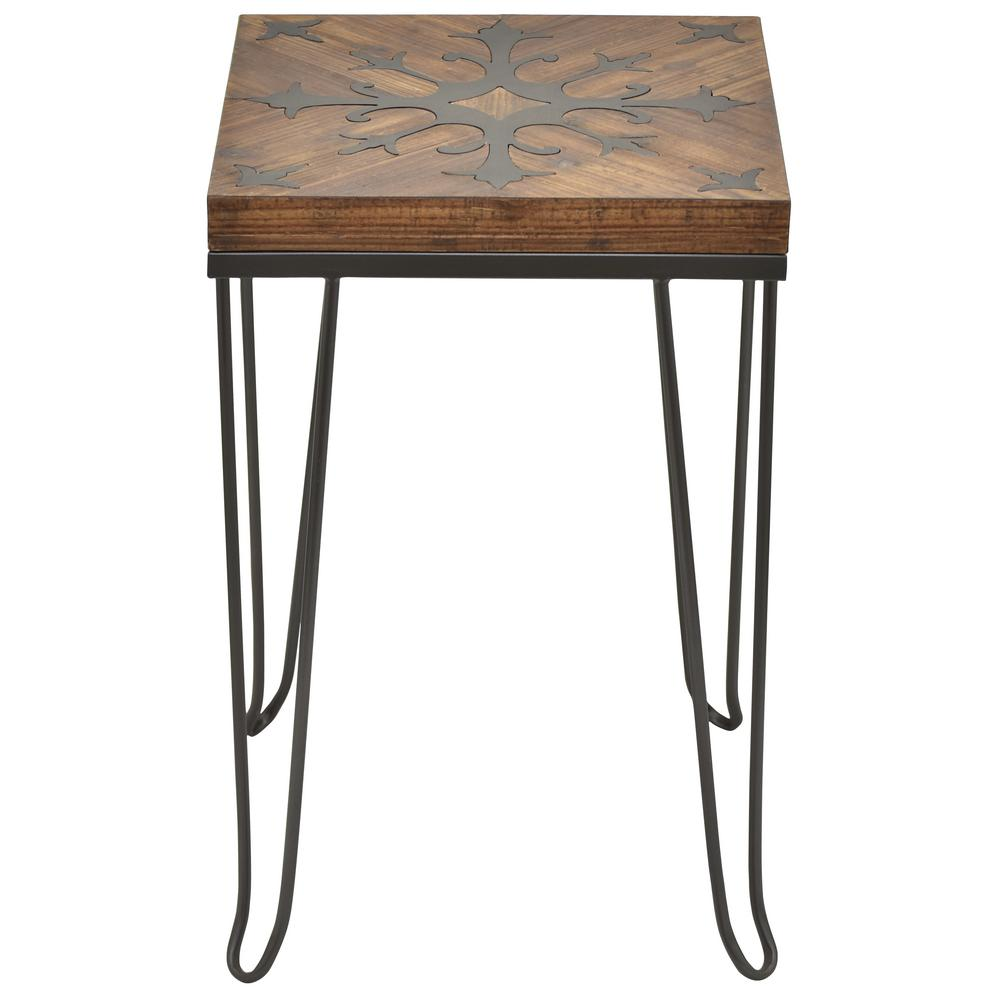 ordinary Three Hands End Table Part - 11: THREE HANDS 24.5 in. Brown Metal wth Wood Top Table
