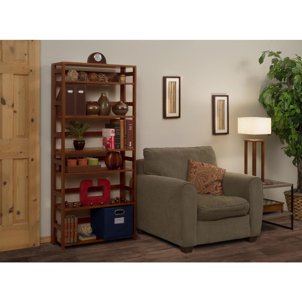 Flip Flop Cherry 6-Shelf 30 in. Wide Folding Bookcase