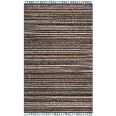 Kilim Gray/Purple 5 ft. x 8 ft. Area Rug