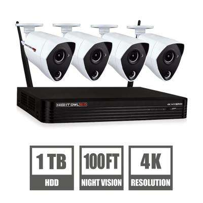 4-Channel 4K Wired UHD 1 TB DVR Security Surveillance System with (4) Wired 4K PIR Bullet Cameras