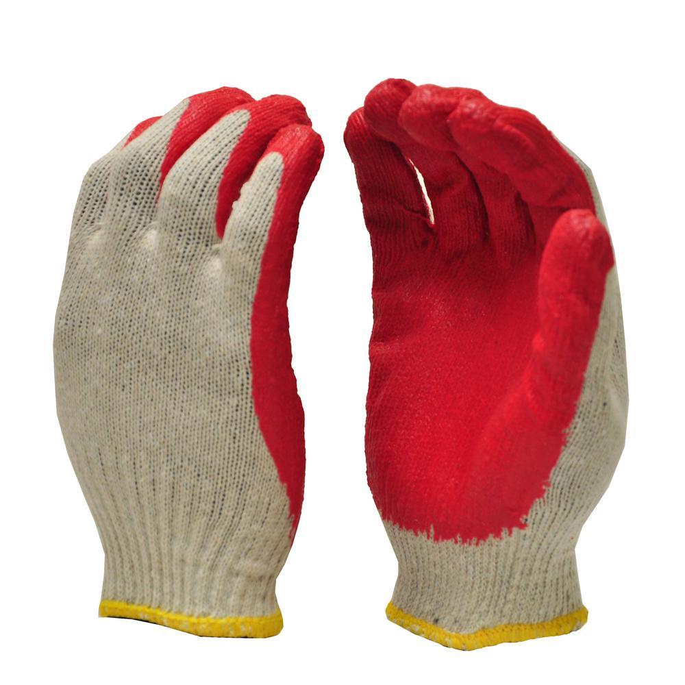 G & F Products String Knit Palm Latex Dipped Red Large Gloves (10-Pair)