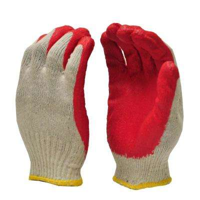 String Knit Palm Latex Dipped Red Large Gloves (10-Pair)