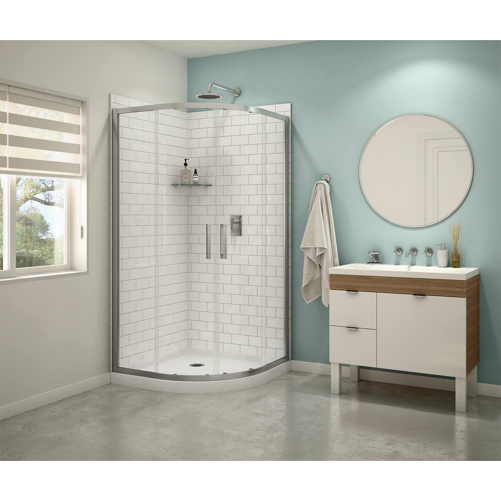 Sakura 38 in. x 71.5 in. Semi-Frameless Shower Door in Clear Chrome with 38 in. x 38 in. Base in White