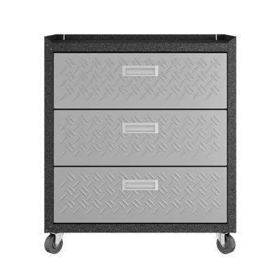 Fortress 32.1 in. H x 30.3 in. W x 18.2 in. D Textured Metal Freestanding Cabinet with 3 Full Extension Drawers in Gray
