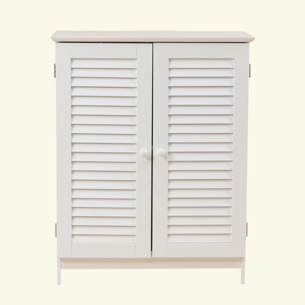 Shutter-Door Bathroom White Storage Cabinet