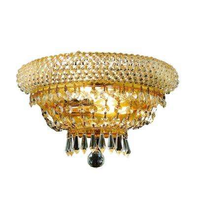 2-Light Gold Semi-Flush Mount Light with Clear Crystal