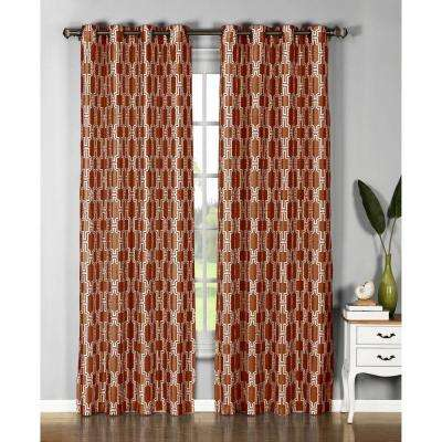 Semi-Opaque Wesley Faux Silk Extra Wide 96 in. L Grommet Curtain Panel Pair, Rust (Set of 2)
