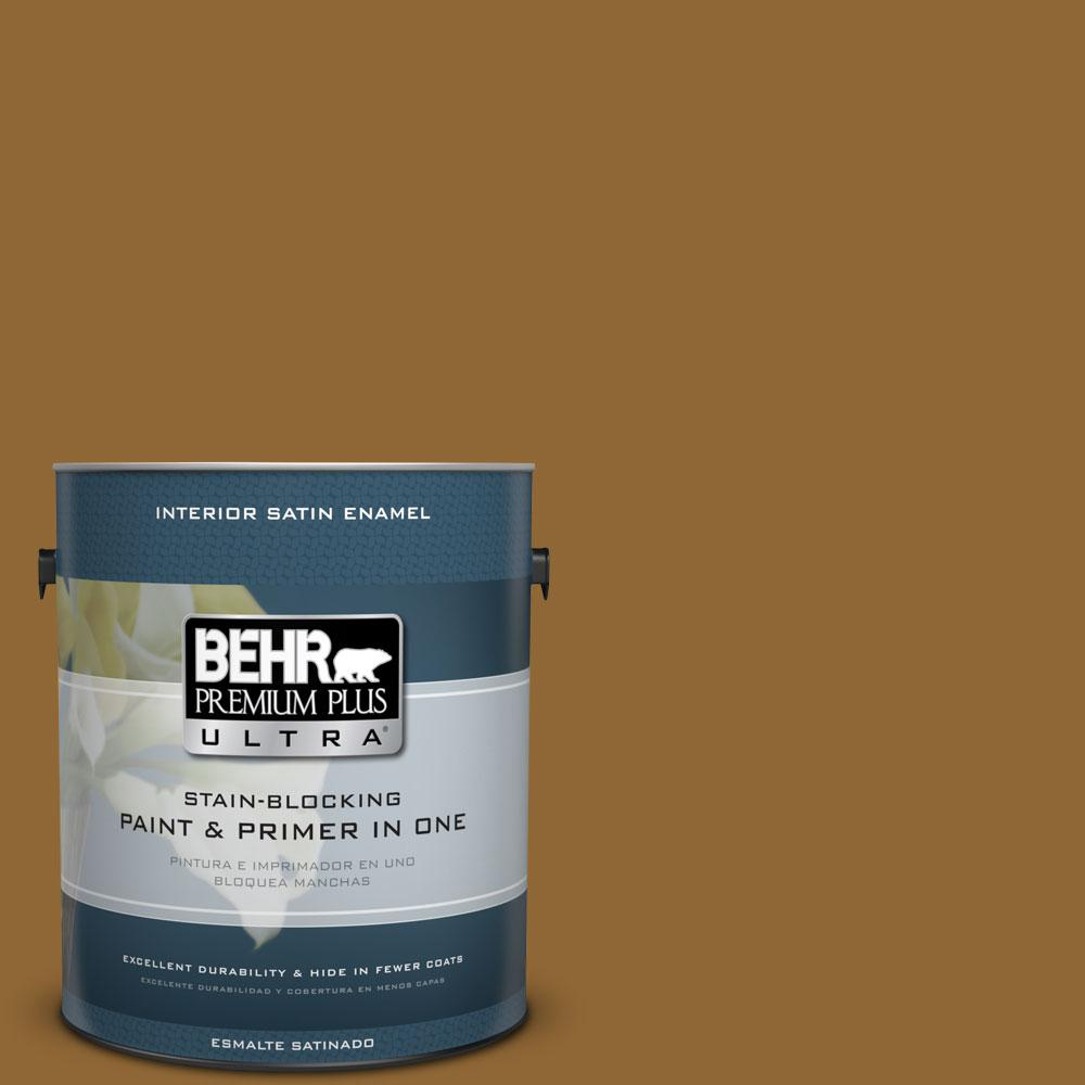 1 gal. #300D-7 Spanish Leather Satin Enamel Interior Paint and Primer