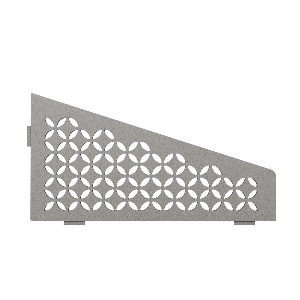Shelf-E Stone Grey Coated Aluminum Floral Quadrilateral Corner Shelf