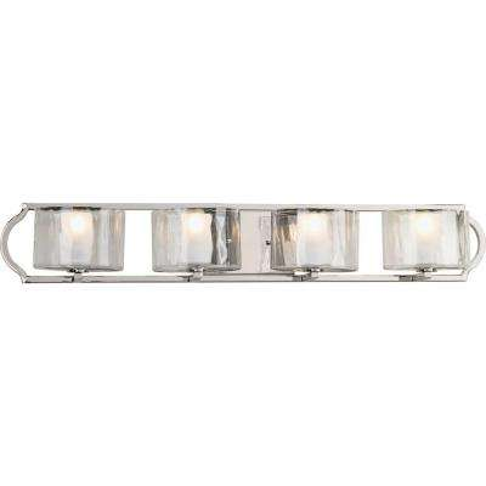 Caress Collection 4-Light Polished Nickel Bathroom Vanity Light