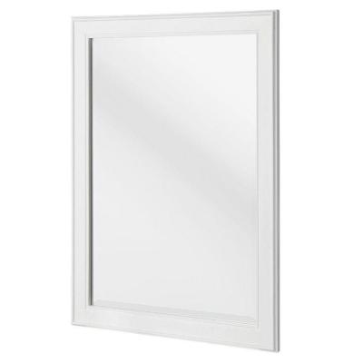 24 in. W x 32 in. H Framed Rectangular Beveled Edge Bathroom Vanity Mirror in White