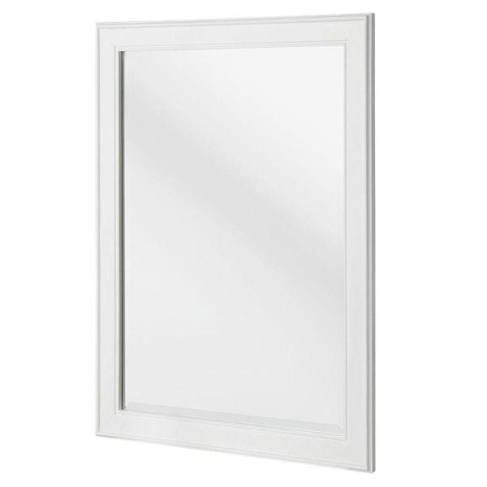 24 in. W x 32 in. H Framed Rectangular Beveled Edge Bathroom Vanity Mirror in White