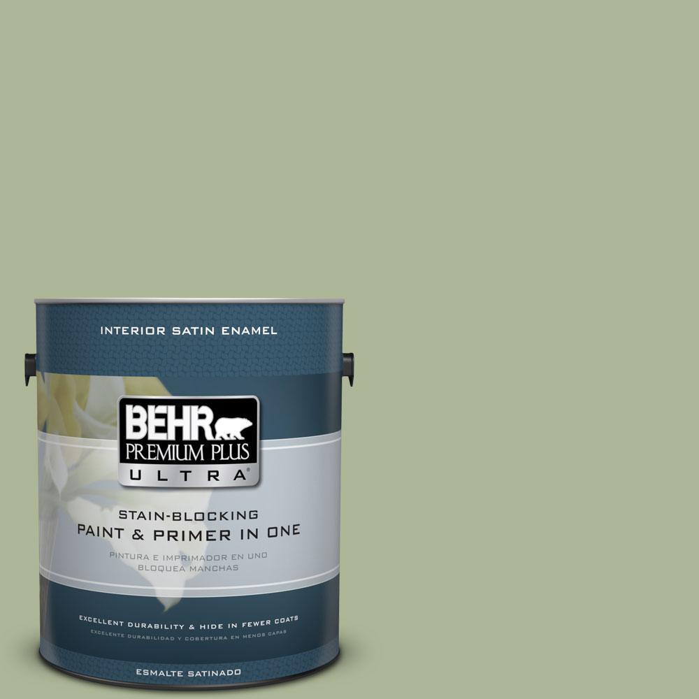 BEHR Premium Plus Ultra 1-Gal. #PPU11-8 Moss Print Satin Enamel Interior Paint