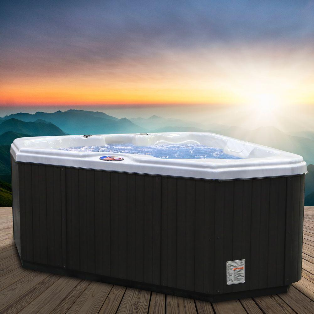 American Spas 2-Person 28-Jet Premium Acrylic Triangle Sterling Silver Spa Hot Tub with Multi Color Spa Light
