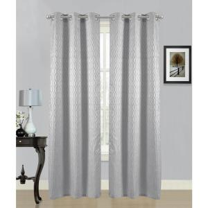 84 inch Swirl Grommet Curtain Panel Pair in Silver (2-Pack) by
