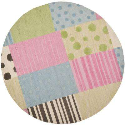 Kids Blue/Pink 6 ft. x 6 ft. Round Area Rug