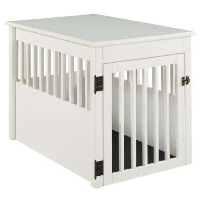 Ruffluv White End Table Pet Crate - Large