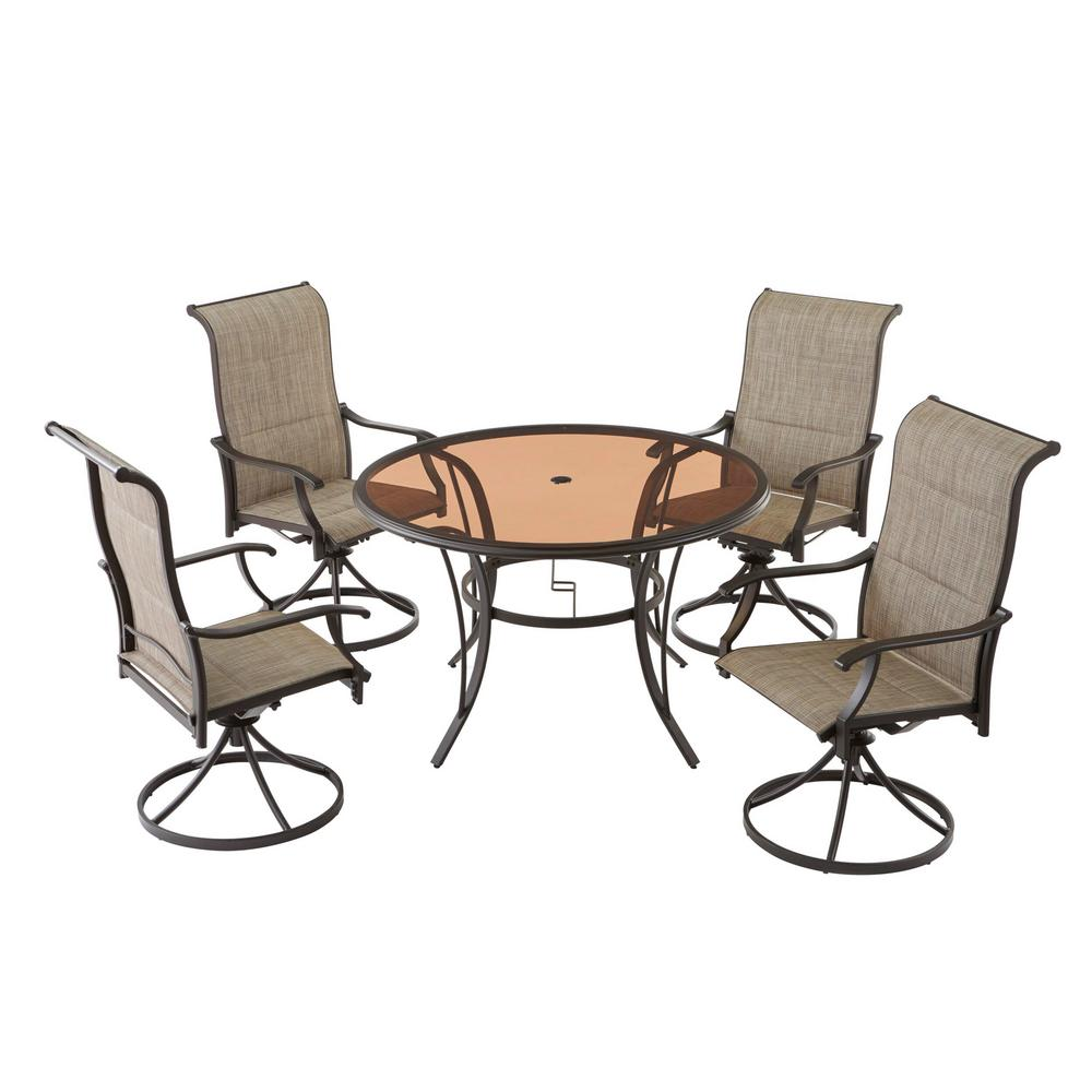 Hampton Bay Riverbrook Espresso Brown 5-Piece Steel Outdoor Patio Padded Swivel Sling Round Glass Top Outdoor Dining Set