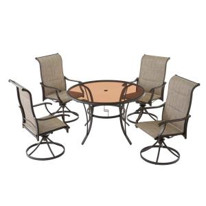 Deals on Riverbrook 5-Pc Steel Swivel Sling Round Glass Top Dining Set