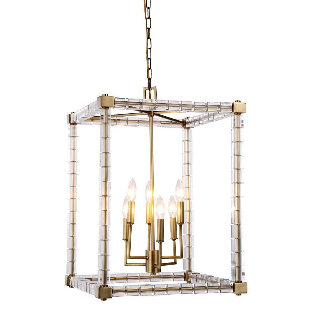 Cristal 6-Light Burnished Brass Crystal Clear Pendant