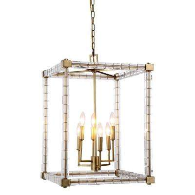 Cristal 6-Light Burnished Brass Crystal Clear Pendant