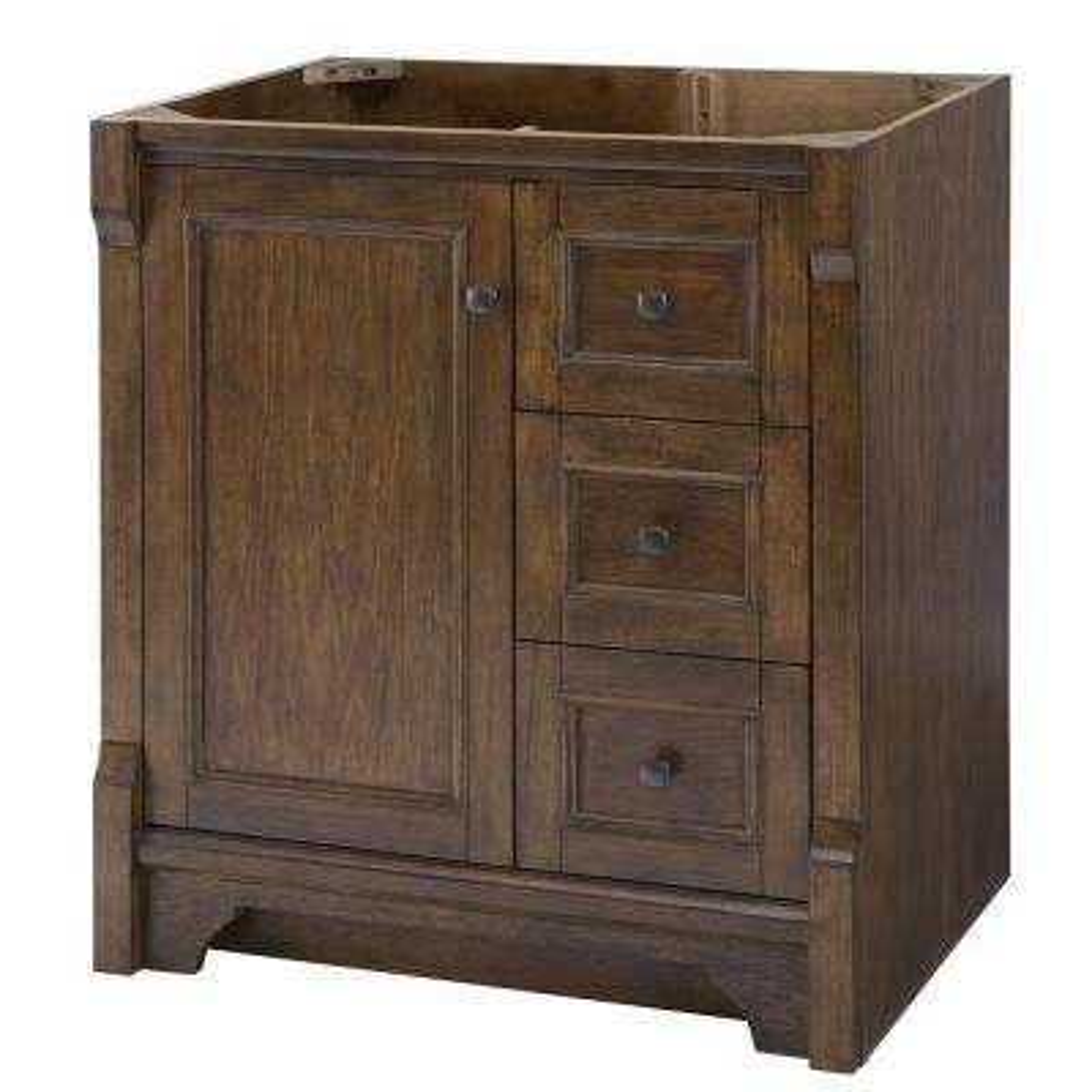 Creedmoor 31 in W x 22 in D Vanity in Walnut with Granite Vanity Top in Santa Cecilia with White Sink