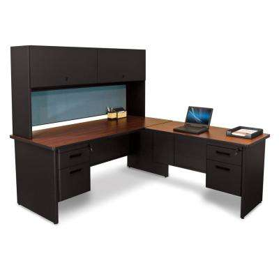 72 in. W x 78 in. D Black, Mahogany and Slate Desk with Return and Pedestal