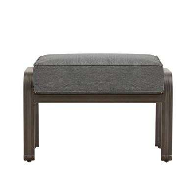 Thoren Aluminum Outdoor Ottoman Chair with Grey Cushion