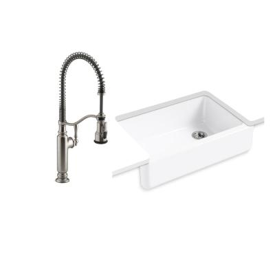Whitehaven All-in-One Undermount Cast Iron 33 in.  Kitchen Sink in White with Tournant Faucet in Stainless Steel