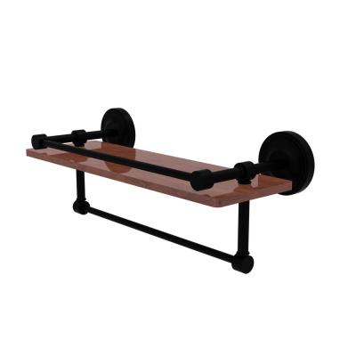 Prestige Regal Collection 16 in. IPE Ironwood Shelf with Gallery Rail and Towel Bar in Matte Black