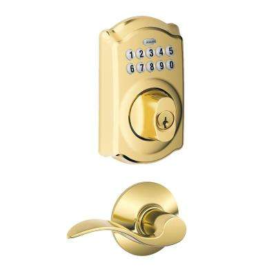 Camelot Keypad Electronic Door Lock Deadbolt and Accent Lever in Bright Brass