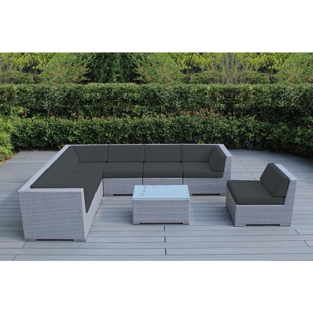Ohana Patio Furniture Reviews.Ohana Depot Ohana Gray 8 Piece Wicker Patio Seating Set With Spuncrylic Gray Cushions