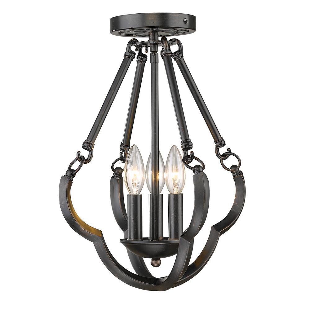 Saxon 3 light aged bronze semi flush mount light