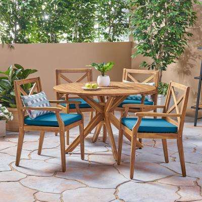 Llano Teak Brown 5-Piece Wood Outdoor Dining Set with Blue Cushions