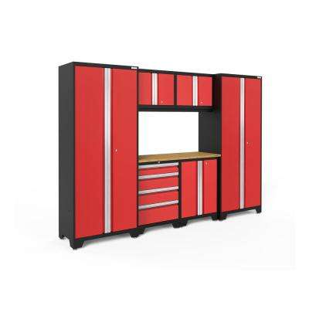 Bold 3 Series 108 in. W x 75.25 in. H x 18 in. D 24-Gauge Welded Steel Bamboo Worktop Cabinet Set in Red (7-Piece)