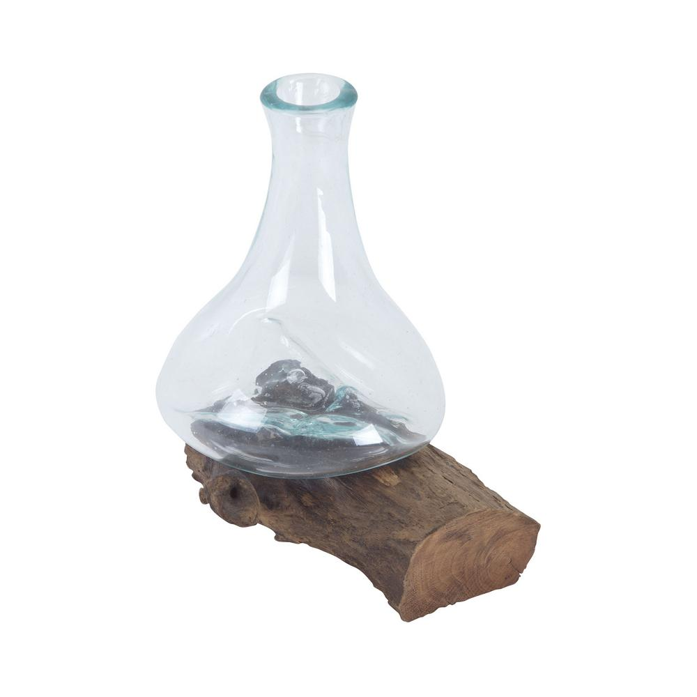 8 in. Teak and Glass Decorative Vase in Natural and Clear...