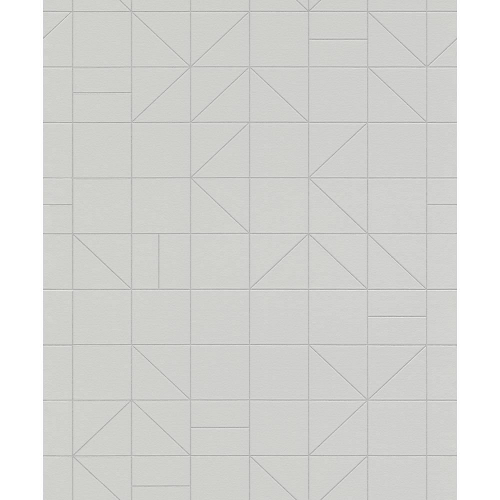 8 in. x 10 in. Teague Silver Geometric Wallpaper Sample
