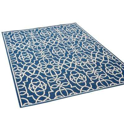 Belmont Navy and Ivory 5 ft. x 8 ft. Geolinear Indoor/Outdoor Area Rug