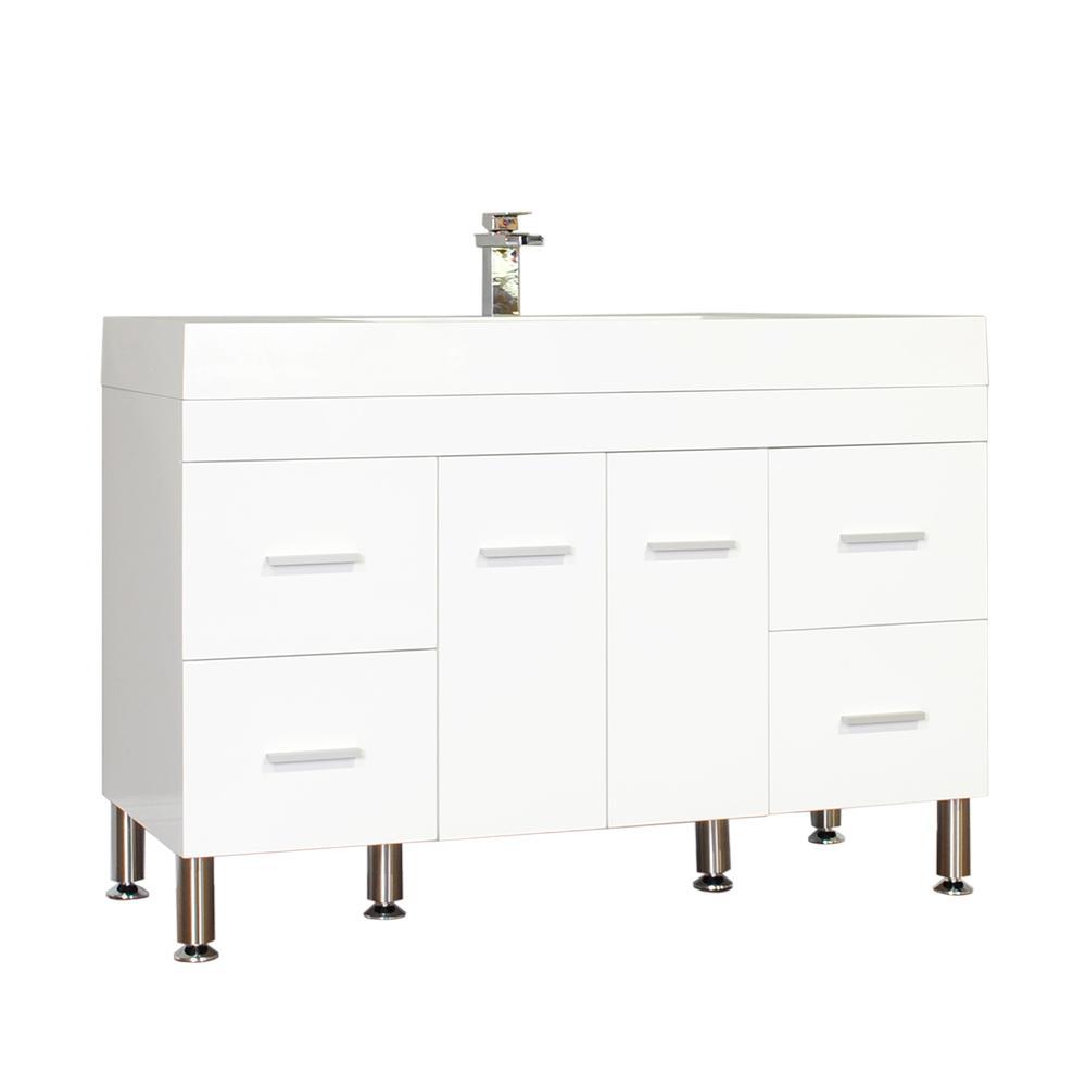 The Modern 47 in. W x 19.5 in. D Bath Vanity in White with Acrylic Vanity Top in White with White Basin