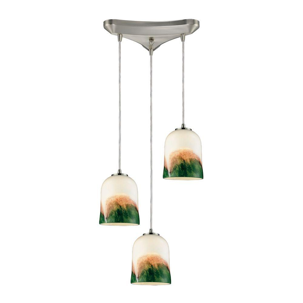 Titan Lighting 3-Light Ceiling Mount Satin Nickel Pendant -DISCONTINUED