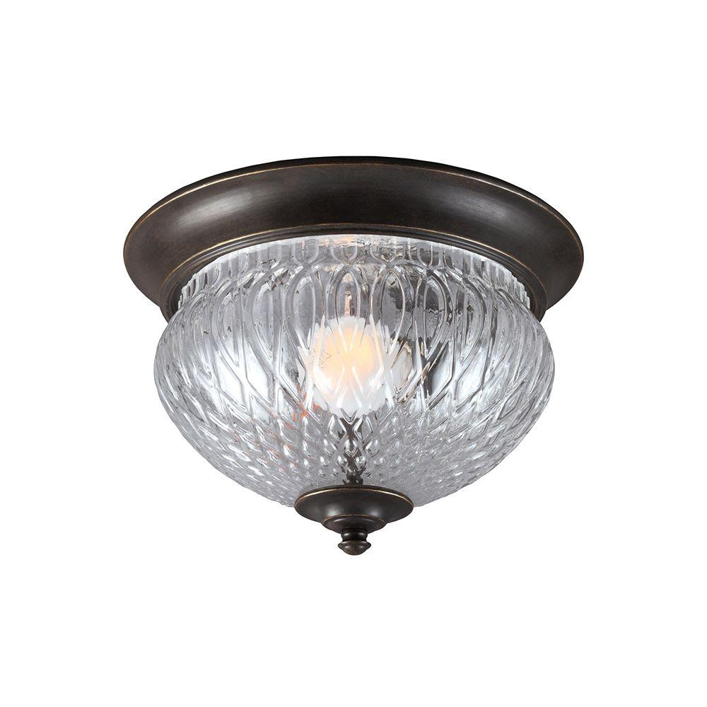 Sea Gull Lighting Garfield Park 1-Light Outdoor Burled Iron Ceiling Flushmount with Clear Glass