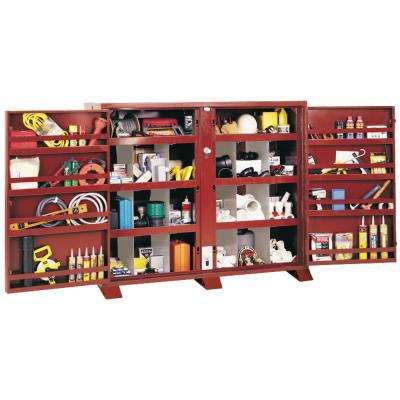 24 in. 16-Compartment Extra Heavy Duty Bin Cabinet Small Parts Organizer