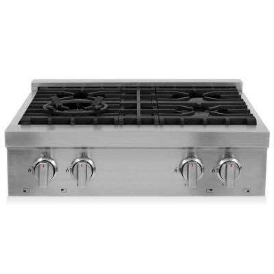30 in. Gas Cooktop with 4 Burners in Stainless Steel